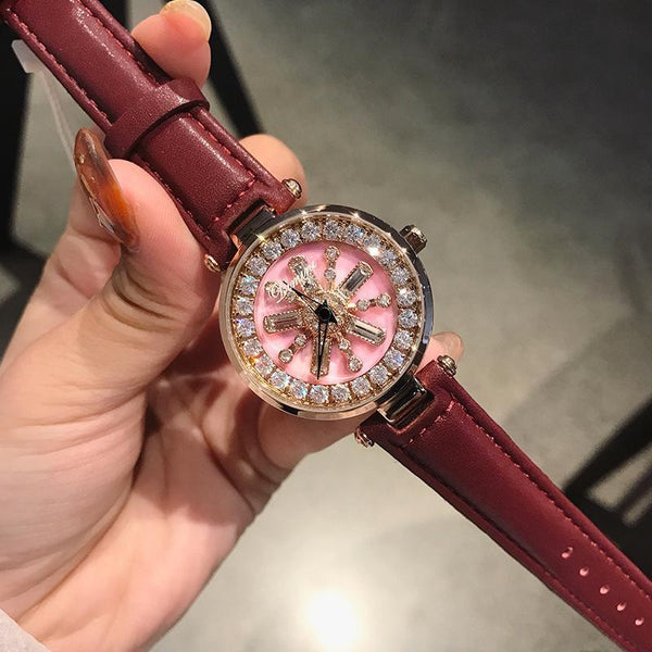Trendinggate.com Pink face red skin dimini women watchesBrand Waterproof Fashion Net Red Watch Snowflake Drill Tremble Boom Watch