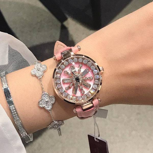 Trendinggate.com Pink pink skin dimini women watchesBrand Waterproof Fashion Net Red Watch Snowflake Drill Tremble Boom Watch