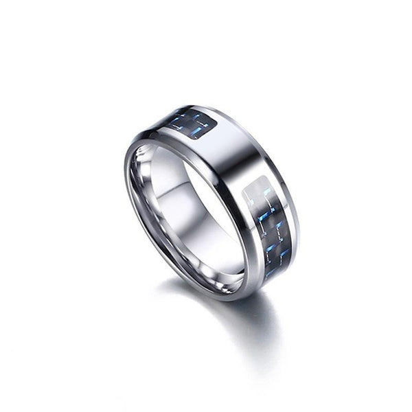 Trendinggate.com Europe and the United States burst stainless steel carbon fiber ring blank men's steel-colored shake tone with the same jewelry wholesale inscription custom