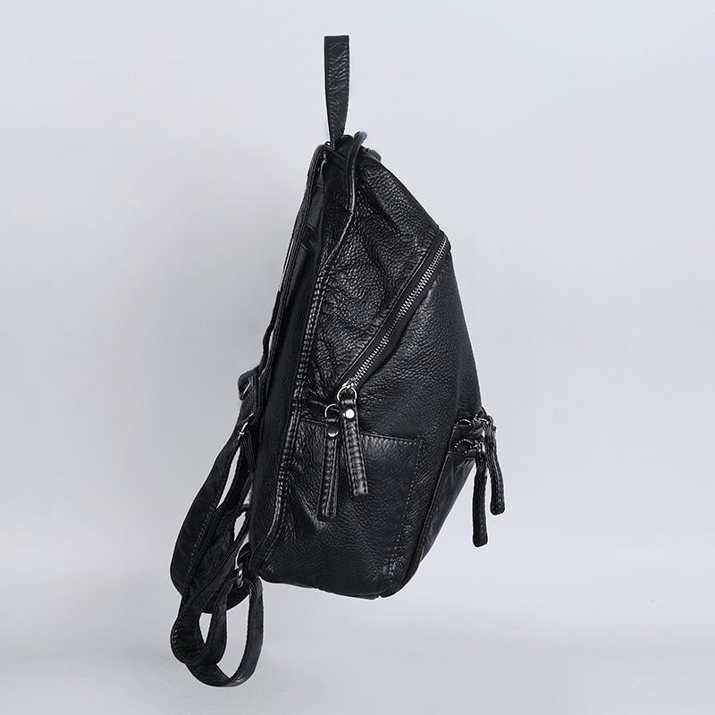 Trendinggate.com Europe and the United States double-shoulder bag leisure bag special case quality 2018 new women's bag tide wash soft leather big backpack (Black)