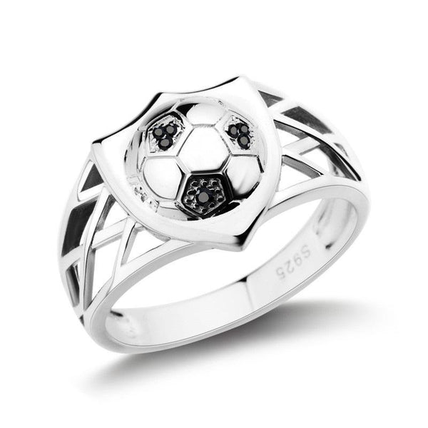Trendinggate.com European and American fashion simple 925 Sterling Silver Ring Men's fashion soccer ring personalized custom fans commemorative ring
