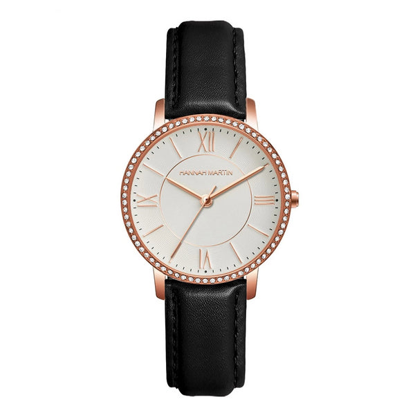 Trendinggate.com 1072PH1 Rose gold shell with white face and black belt European Union Environmental-friendly Amazon explosive European station 2019 new model of private model women's watch, Japanese core, light-weight quartz watch