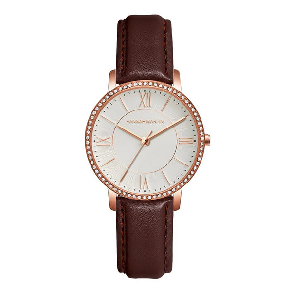 Trendinggate.com 1072PZ1 玫金壳白面棕皮带 European Union Environmental-friendly Amazon explosive European station 2019 new model of private model women's watch, Japanese core, light-weight quartz watch