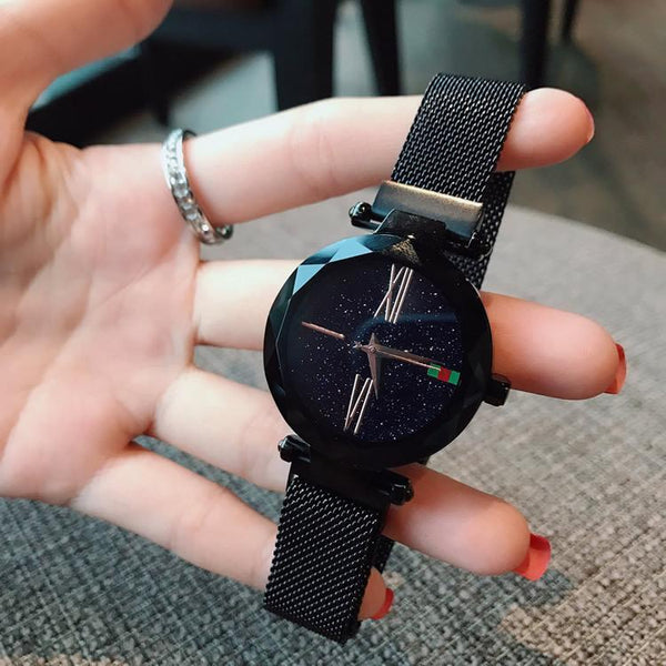 Trendinggate.com black Explosions watch female stars 2018 new fashion network red shaking sound with iron absorption lazy watches waterproof