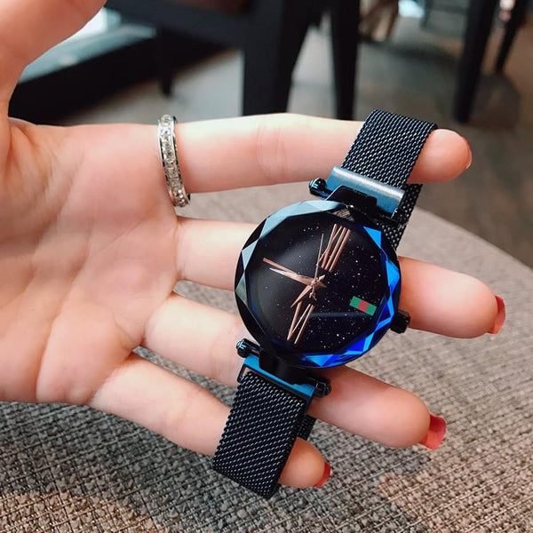 Trendinggate.com Blue Explosions watch female stars 2018 new fashion network red shaking sound with iron absorption lazy watches waterproof