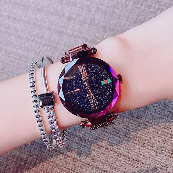 Trendinggate.com purple Explosions watch female stars 2018 new fashion network red shaking sound with iron absorption lazy watches waterproof