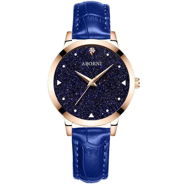 Trendinggate.com Rose shell starry blue belt Factory source college popular style women's watch starry women's watch students Korean version of simple foreign trade wholesale