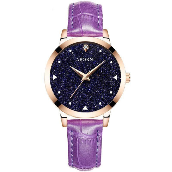 Trendinggate.com Rose shell starry purple belt Factory source college popular style women's watch starry women's watch students Korean version of simple foreign trade wholesale