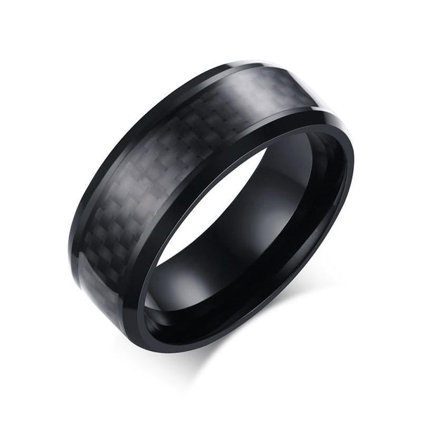Trendinggate.com Factory wholesale custom 8 mm stainless steel black carbon fiber ring Japanese and Korean version of fashion men's titanium jewelry.