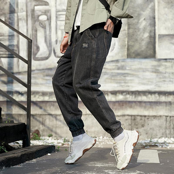 Trendinggate.com Fall/winter Harlan pants men's trendy jeans youth Japanese retro slim leggings loose size pants