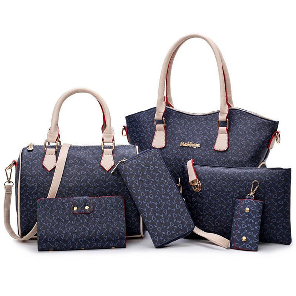 Trendinggate.com Navy Blue female handbagsSix sets of ant-striped fish bone pattern are sold well in Europe, America and Africa