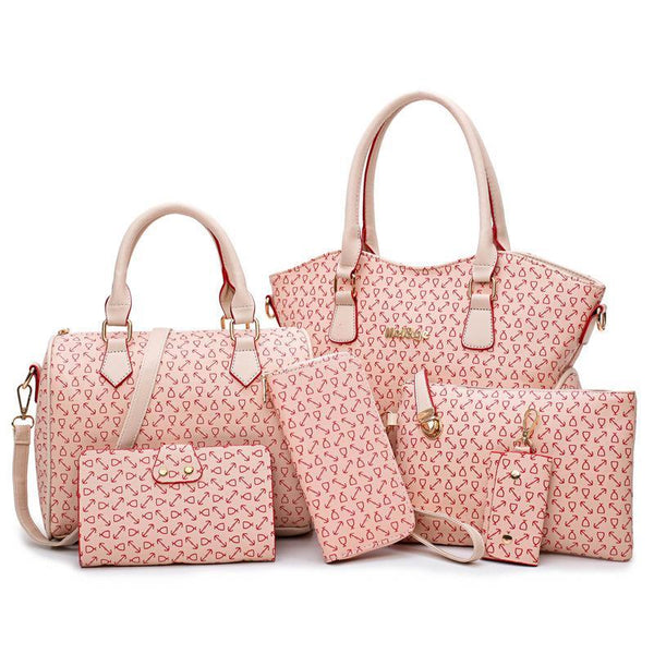 Trendinggate.com Pink female handbagsSix sets of ant-striped fish bone pattern are sold well in Europe, America and Africa
