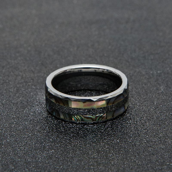 Trendinggate.com Foreign trade wholesale inlaid abalone shell man tungsten gold ring cross-border American men's tungsten steel ring customization