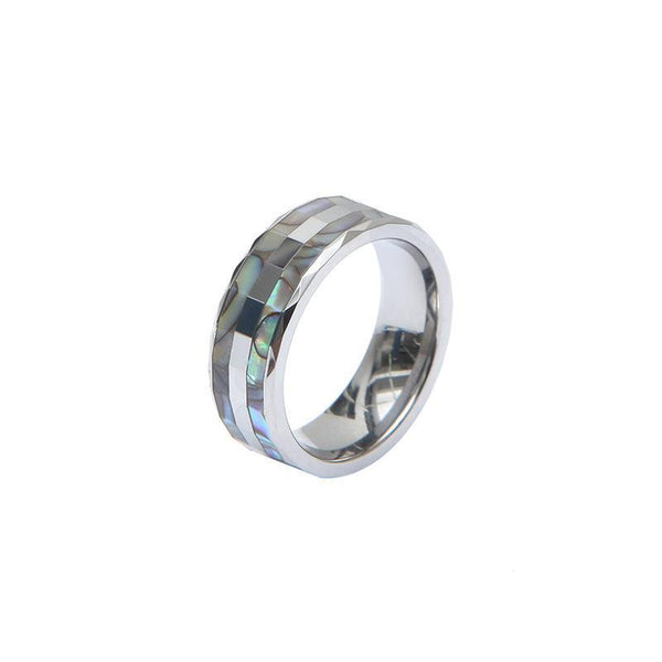 Trendinggate.com 8mm / 10Number Foreign trade wholesale inlaid abalone shell man tungsten gold ring cross-border American men's tungsten steel ring customization