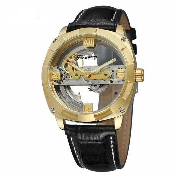 Trendinggate.com Men's Watches Black Belt in Gold Shell FORSINING band comes in traditional leather for a versatile look
