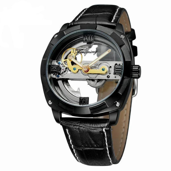 Trendinggate.com Men's Watches Black shell black belt FORSINING band comes in traditional leather for a versatile look