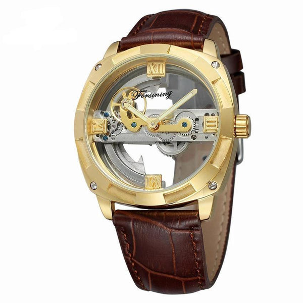Trendinggate.com Men's Watches Gold shell coffee belt FORSINING band comes in traditional leather for a versatile look