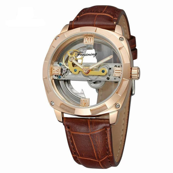 Trendinggate.com Men's Watches Rose shell coffee belt FORSINING band comes in traditional leather for a versatile look