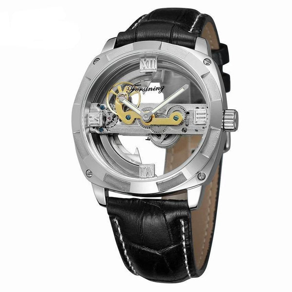 Trendinggate.com Men's Watches Silver shell black belt FORSINING band comes in traditional leather for a versatile look