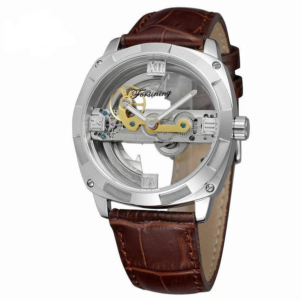 Trendinggate.com Men's Watches Silver shell coffee belt FORSINING band comes in traditional leather for a versatile look