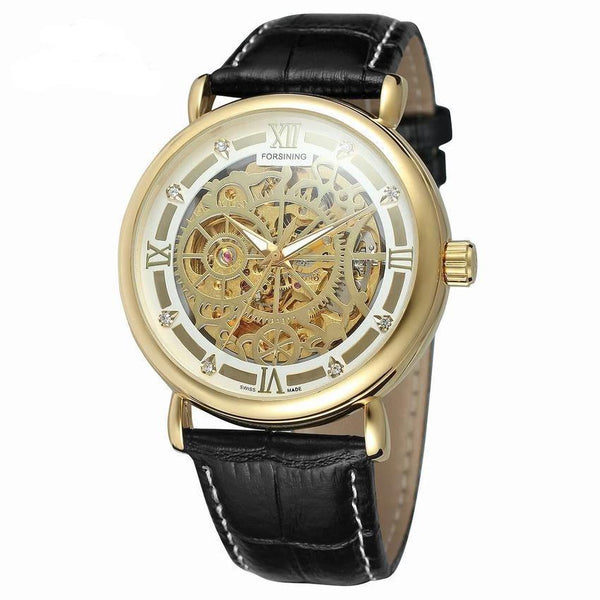 Trendinggate.com Men's Watches FORSINING comes in traditional leather for a versatile look