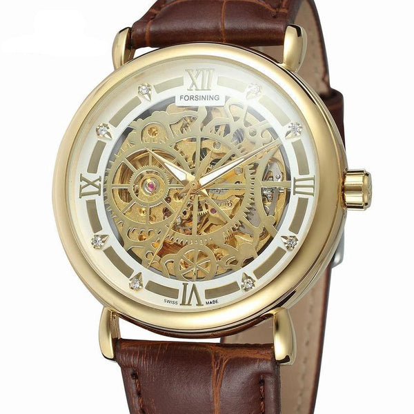 Trendinggate.com Men's Watches Gold shell 1 FORSINING comes in traditional leather for a versatile look