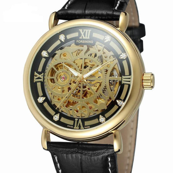 Trendinggate.com Men's Watches Gold shell 2 FORSINING comes in traditional leather for a versatile look