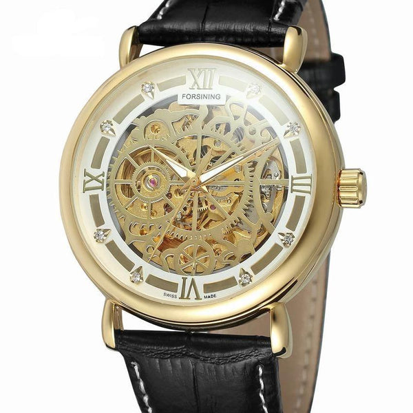 Trendinggate.com Men's Watches Gold shell 3 FORSINING comes in traditional leather for a versatile look