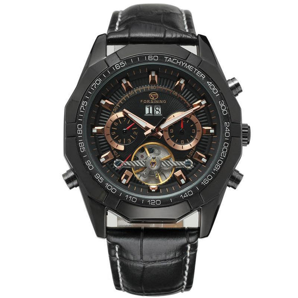 Trendinggate.com Men's Watches All black FORSINING elegant casual watch perfect for summer nights