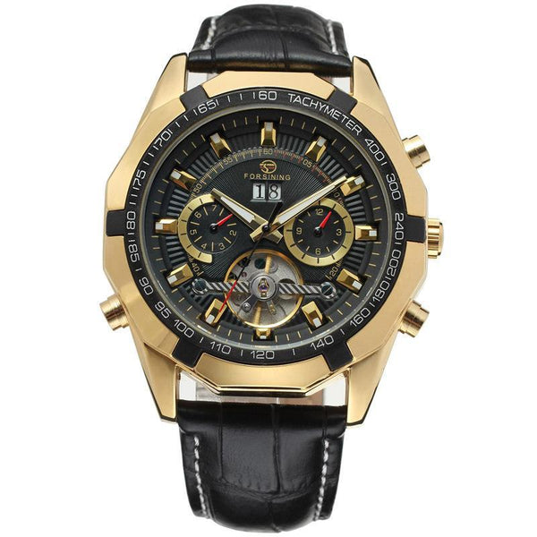 Trendinggate.com Men's Watches Gold and black FORSINING elegant casual watch perfect for summer nights
