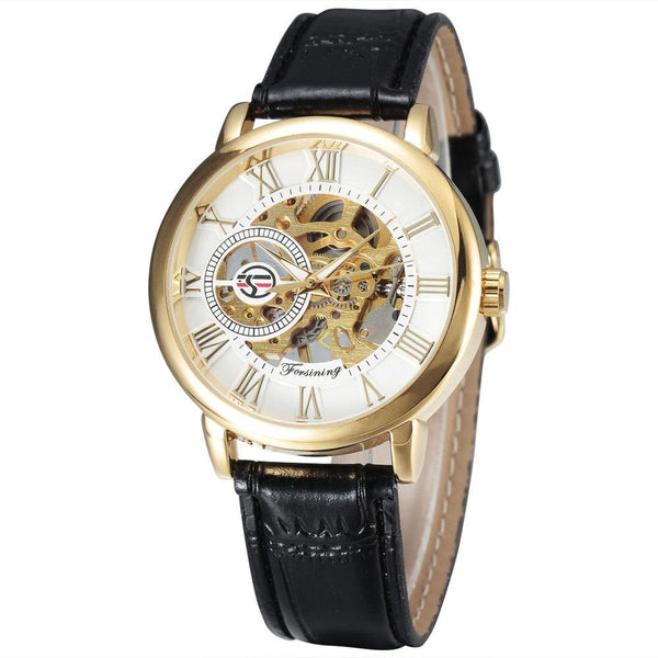 Trendinggate.com Men's Watches Black belt, gold and white FORSINING with a stainless steel case that offers durability