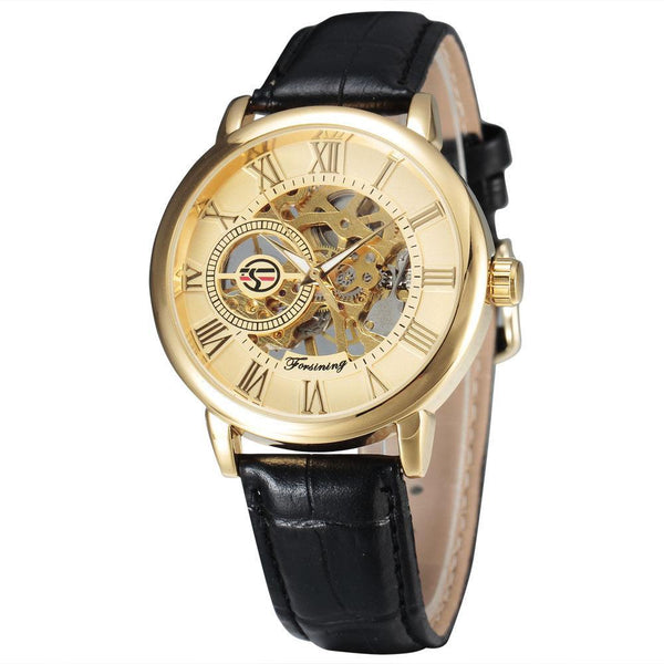 Trendinggate.com Men's Watches Black belt gold noodles FORSINING with a stainless steel case that offers durability