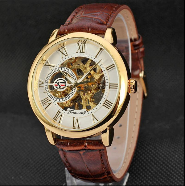 Trendinggate.com Men's Watches Brown belt gold white FORSINING with a stainless steel case that offers durability