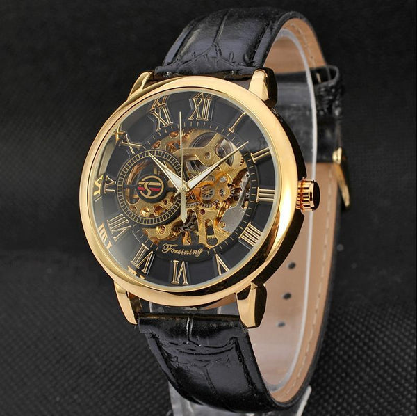 Trendinggate.com Men's Watches Gold black FORSINING with a stainless steel case that offers durability