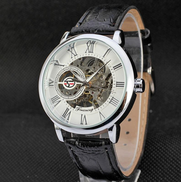 Trendinggate.com Men's Watches Silvery white FORSINING with a stainless steel case that offers durability