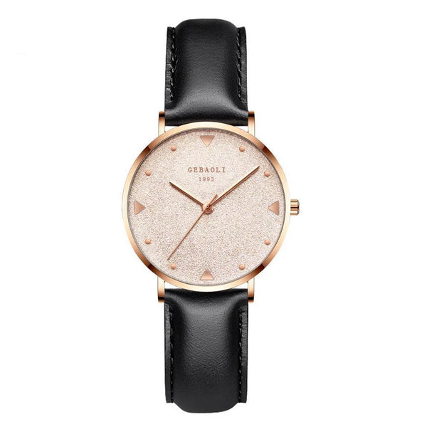 Trendinggate.com Black belt with rose gold face French minority luxury star watches ladies new fashion temperament students Shi Ying watches watches