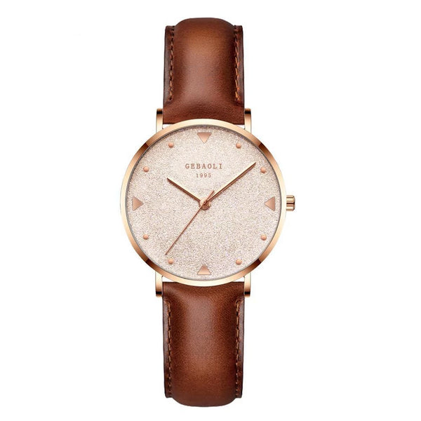 Trendinggate.com Rose gold brown leather belt French minority luxury star watches ladies new fashion temperament students Shi Ying watches watches