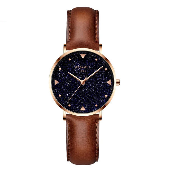 Trendinggate.com Starry brown belt French minority luxury star watches ladies new fashion temperament students Shi Ying watches watches
