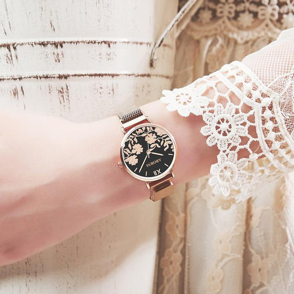Trendinggate.com Black face of rose shell French minority watch lady simple temperament waterproof fashion light extravagant female student Korean version of ins wind 2019 new model