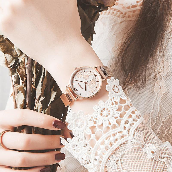 Trendinggate.com Rose shell and white face French minority watch lady simple temperament waterproof fashion light extravagant female student Korean version of ins wind 2019 new model