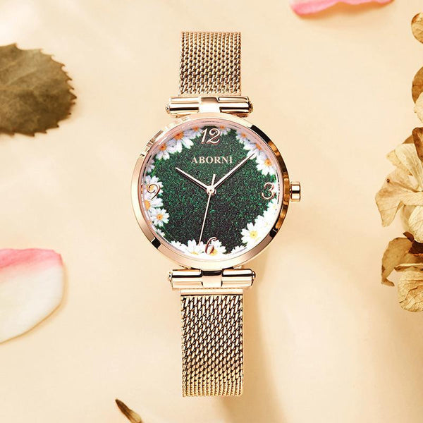 Trendinggate.com Chrysanthemum Noodles Full sky star French minority watch lady star sky waterproofing female student Korean version simple ins forest department female watch