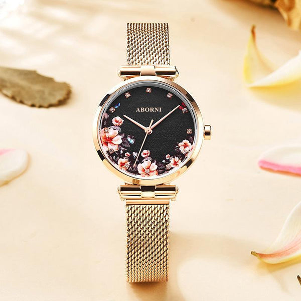 Trendinggate.com Red flower noodles Full sky star French minority watch lady star sky waterproofing female student Korean version simple ins forest department female watch