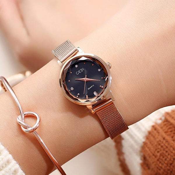 Trendinggate.com Rose gold: black GEDIGenuine Ladies Watches Female Fashion Students Simple Korean Waterproof Quartz Watch Leisure Mesh