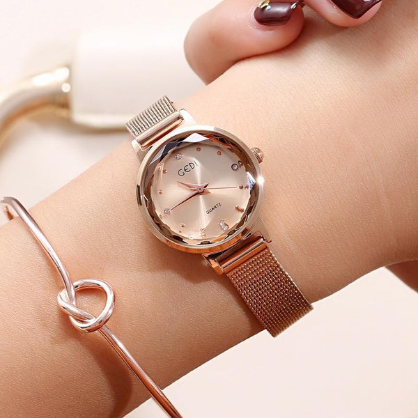 Trendinggate.com Rose Gold: Gold GEDIGenuine Ladies Watches Female Fashion Students Simple Korean Waterproof Quartz Watch Leisure Mesh