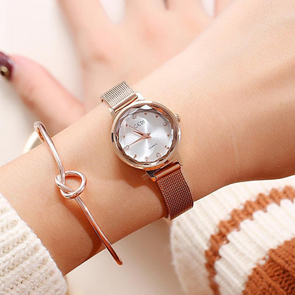 Trendinggate.com Rose gold: White GEDIGenuine Ladies Watches Female Fashion Students Simple Korean Waterproof Quartz Watch Leisure Mesh