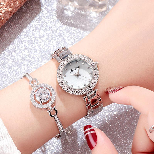 Trendinggate.com Silver Genuine Fashion Watch Female Faciana Atmospheric Trend Korean Version Lady Watch Leisure Simple Micro-Commerce Explosion