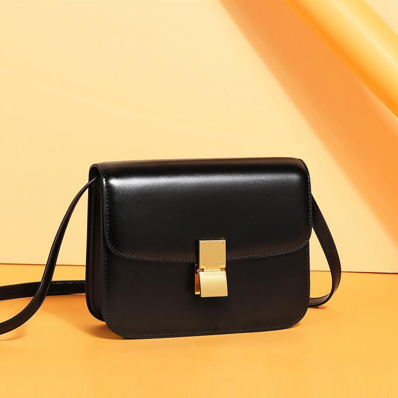 Trendinggate.com Large Midnight Black (hand rubbing) Genuine leather women's bag 2019 new tofu bag hand rub pattern cowhide single shoulder messenger bag manufacturer directly approved one piece to be sent on behalf of others