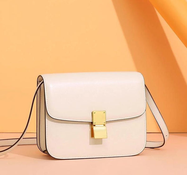 Trendinggate.com Large version of rice white (hand rubbing) Genuine leather women's bag 2019 new tofu bag hand rub pattern cowhide single shoulder messenger bag manufacturer directly approved one piece to be sent on behalf of others