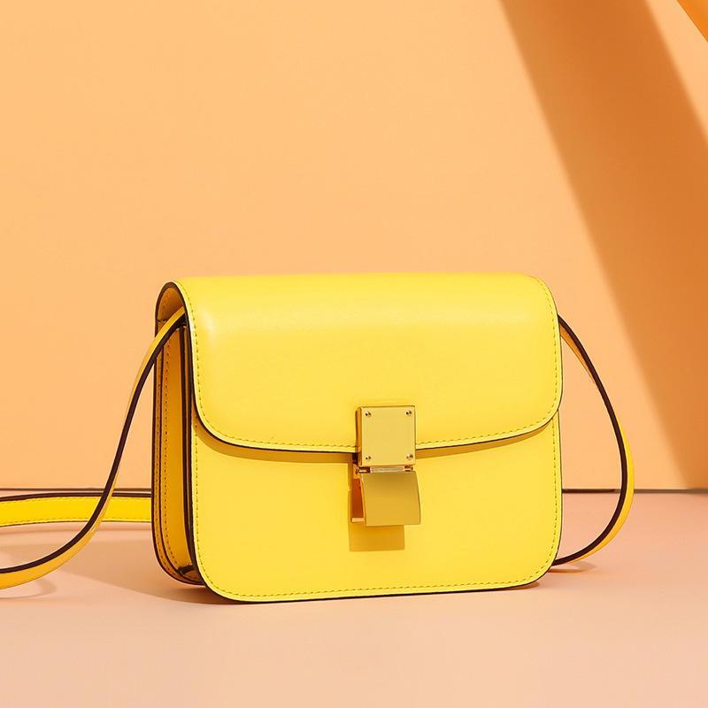 Trendinggate.com Large lemon yellow (hand rub) Genuine leather women's bag 2019 new tofu bag hand rub pattern cowhide single shoulder messenger bag manufacturer directly approved one piece to be sent on behalf of others