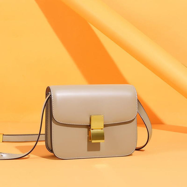 Trendinggate.com Small version of milk apricot color (hand rub lines) Genuine leather women's bag 2019 new tofu bag hand rub pattern cowhide single shoulder messenger bag manufacturer directly approved one piece to be sent on behalf of others